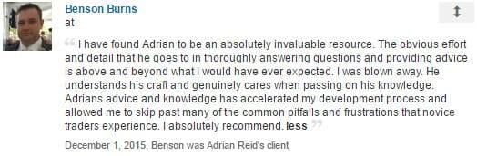 Benson Burns Testimonial for Adrian Reid and Enlightened Stock Trading