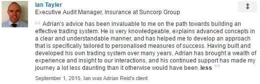 Ian Tayler Testimonial for Adrian Reid and Enlightened Stock Trading