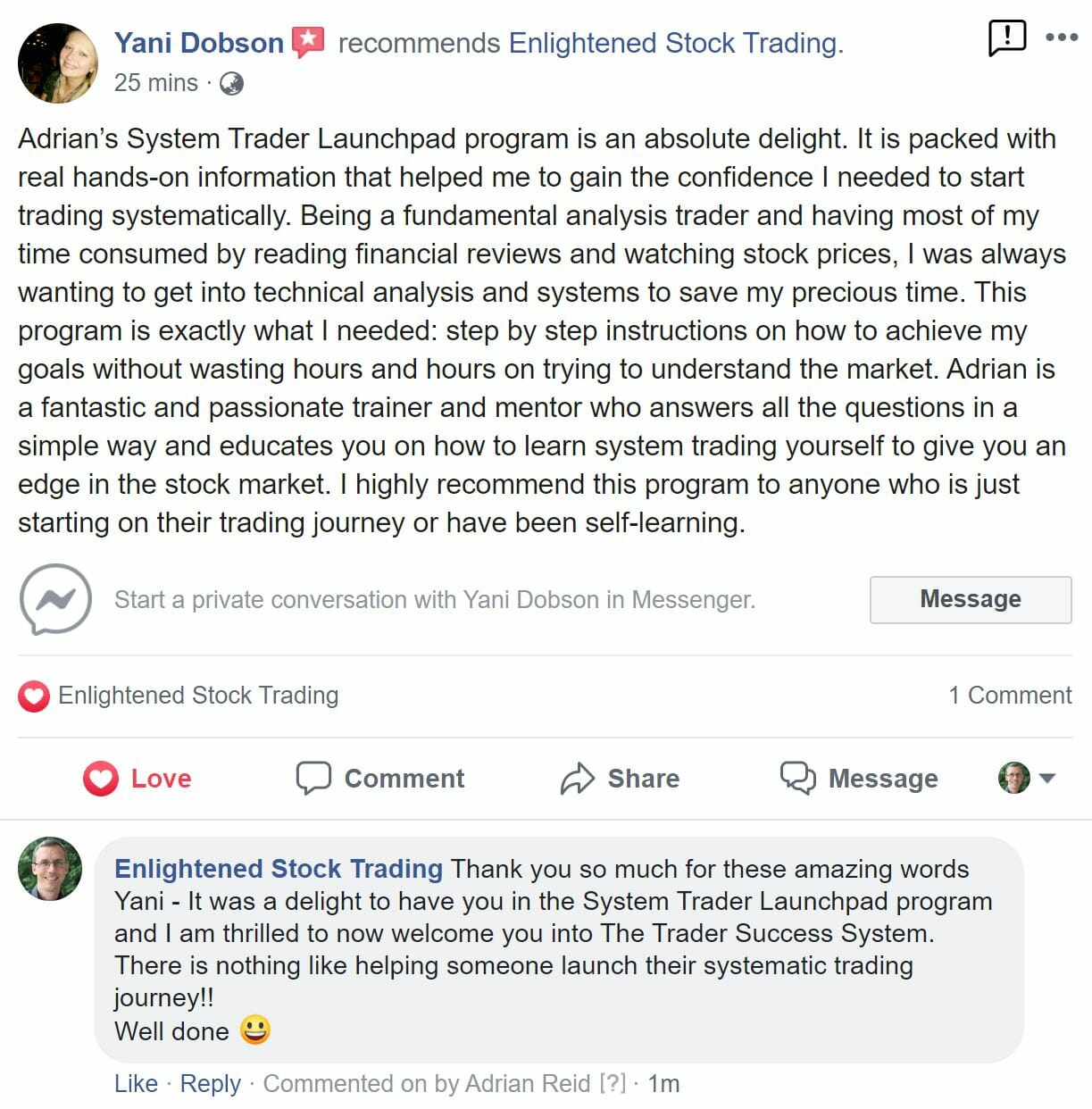 Yani Dobson - Testimonial for The System Trader Launchpad