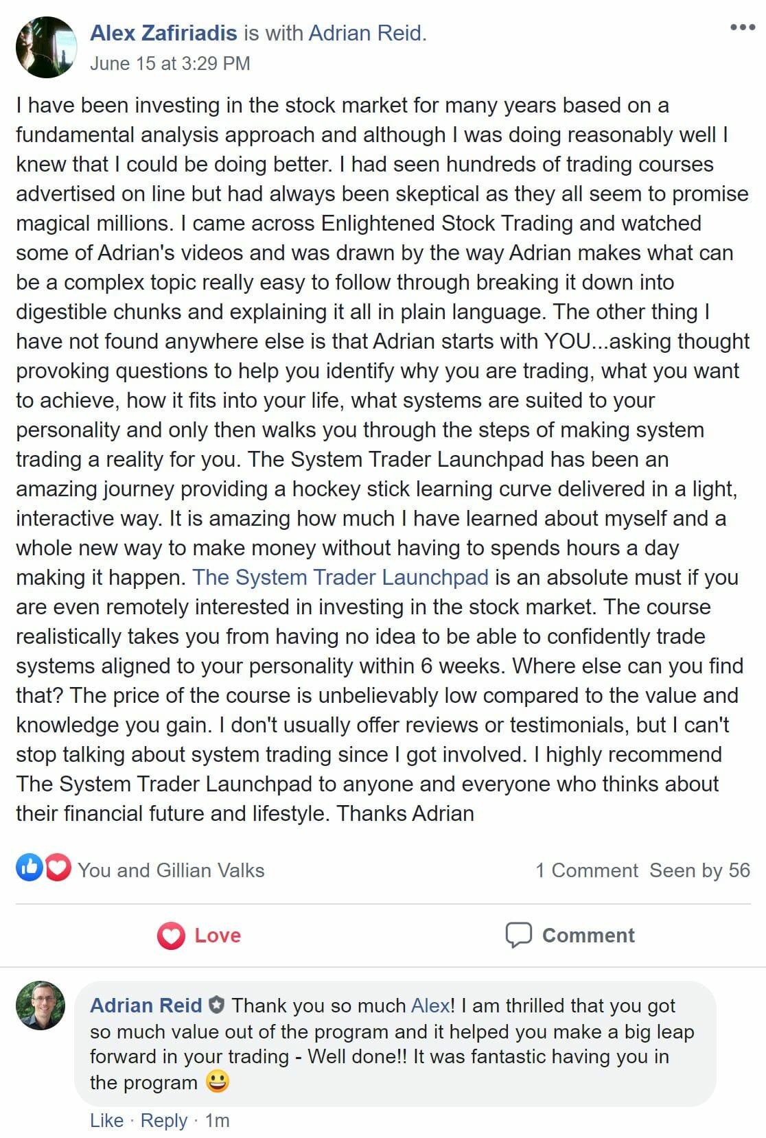 Alex Zafiriadis - Testimonial for System Trader Launchpad