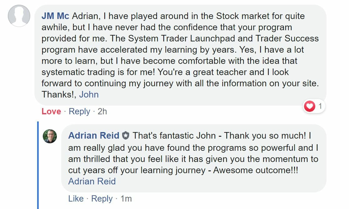 John Mc - Testimonial for System Trader Launchpad and Trader Success System