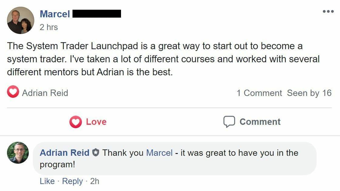Marcel Elderhorst - Testimonial for System Trader Launchpad