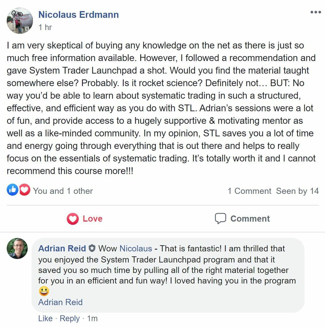 Nicolaus Erdmann - Testimonial for System Trader Launchpad