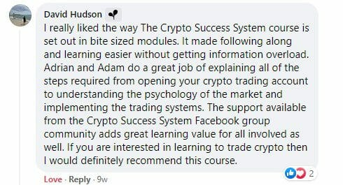 Cryptocurrency trading course - The Crypto Success System - David Hudson